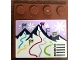 Part No: 6179pb155  Name: Tile, Modified 4 x 4 with Studs on Edge with Mountains and Flags Pattern (Sticker) - Set 41324
