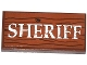 Part No: 87079pb0154  Name: Tile 2 x 4 with Wood Grain and 'SHERIFF' Pattern (Sticker) - Set 79109