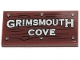 Part No: 87079pb0698  Name: Tile 2 x 4 with 'GRIMSMOUTH COVE', Wood Grain and 6 Nails Pattern (Sticker) - Set 70431