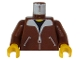 Part No: 973p70c02  Name: Torso Bomber Jacket and Black T-Shirt Pattern / Reddish Brown Arms / Yellow Hands