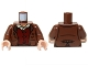 Part No: 973pb1140c01  Name: Torso LotR Jacket Rumpled and Red Vest Pattern (Frodo) / Reddish Brown Arms / Light Flesh Hands