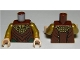 Part No: 973pb1281c01  Name: Torso LotR Gold Ruffled Shirt, Reddish Brown Layered Pattern / Pearl Gold Arms / Light Nougat Hands
