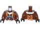 Part No: 973pb1704c01  Name: Torso Aviator Jacket with Orange Parachute and Straps, Arctic Explorer Logo on Reverse Pattern / Reddish Brown Arms / Black Hands