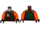 Part No: 973pb2303c01  Name: Torso Ninjago Green Armor with Belts, Ninja Skull with Crossed Swords and Scabbards Pattern / Orange Arms / Dark Brown Hands