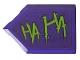Part No: 22385pb195R  Name: Tile, Modified 2 x 3 Pentagonal with Lime 'HA HA' Pattern Model Right Side (Sticker) - Set 76159