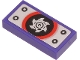 Part No: 3069bpb0835  Name: Tile 1 x 2 with Groove with Metal Plate and Silver Circular Saw Blade on Black and Red Circle Pattern (Sticker) - Set 71704