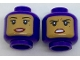 Part No: 3626cpb1764  Name: Minifigure, Head Dual Sided Female Balaclava with Medium Dark Flesh Face, Beauty Mark, Smile / Annoyed Pattern - Hollow Stud