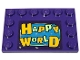 Part No: 6180pb125  Name: Tile, Modified 4 x 6 with Studs on Edges with Bright Light Orange and Yellowish Green 'HAPPY WORLD' Pattern (Sticker) - Set 70432