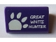 Part No: 85984pb191  Name: Slope 30 1 x 2 x 2/3 with White 'GREAT WHITE HUNTER' and Paw Pattern (Sticker) - Set 71016