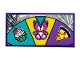 Part No: 87079pb0789  Name: Tile 2 x 4 with Wheel of Fortune with Pizza, Bear and Cupcake Pattern (Sticker) - Set 41375