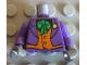Part No: 973pb0184c01  Name: Torso Batman Suit with Orange Vest, Green Tie, Yellow Flower Pattern / Dark Purple Arms / Dark Bluish Gray Hands