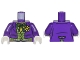 Part No: 973pb0983c01  Name: Torso Batman Suit with Lime Green Vest, Dark Green Bow Tie and Yellow Flower Pattern (Joker) / Dark Purple Arms / White Hands
