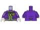 Part No: 973pb0983c01  Name: Torso Batman Suit with Lime Vest, Dark Green Bow Tie and Yellow Flower Pattern (Joker) / Dark Purple Arms / White Hands