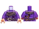 Part No: 973pb1307c01  Name: Torso LotR Coat with Scarf, Braided Belt and Slingshot Pattern / Dark Purple Arms / Light Flesh Hands