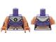 Part No: 973pb2040c01  Name: Torso Batman Female Outline, Dark Purple Crop Top, Silver Collar and Belt Pattern / Nougat Arms with Silver Gauntlets / Nougat Hands