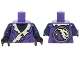 Part No: 973pb2126c01  Name: Torso Ninjago Tattered Robe with Yellowish Green Collar and Dark Blue Undershirt Pattern / Dark Blue Arms / Black Hands