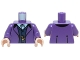 Part No: 973pb2181c01  Name: Torso Suit Jacket over Dark Blue Vest and White Button Down Shirt with Gold Chain Watch Pattern / Dark Purple Arms / Light Nougat Hands