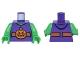 Part No: 973pb2281c01  Name: Torso Vest with Dark Orange Belt and Orange Pumpkin Jack-o-Lantern Buckle Pattern / Bright Green Arms / Bright Green Hands