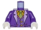 Part No: 973pb2598c01  Name: Torso Batman Suit with Lavender Lapels, Striped Vest, Bright Light Orange Shirt and Bright Green Tie Pattern (Joker) / Dark Purple Arms / White Hands