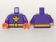 Part No: 973pb2678c01  Name: Torso Batman Yellow Killer Moth Logo and Belt Pattern / Dark Purple Arms / Orange Hands