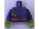 Part No: 973pb3530c01  Name: Torso Female Shirt with Buttons, Orange Belt, Buckle, Lime and Orange Patches Pattern / Dark Purple Arms / Lime Hands