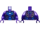 Part No: 973pb3719c01  Name: Torso Female Armor, White Arc Reactor, Blue Panels and Gold Trim Pattern / Dark Purple Arms / Dark Purple Hands