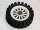 Part No: 30155c01  Name: Wheel & Tire Assembly Spoked 2 x 2 with Pin Hole with Black Tire 24mm D. x 8mm Offset Tread - Interior Ridges (30155 / 3483)