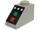 Part No: 3040px1  Name: Slope 45 2 x 1 with 3 White Buttons, Red and Green Lamps Pattern
