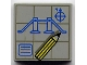 Part No: 3068bpx28  Name: Tile 2 x 2 with Groove with Blueprints and Pencil Pattern