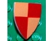 Part No: 3846px21  Name: Minifigure, Shield Triangular with Red and Peach Quarters Pattern, Style 2