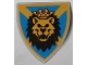 Part No: 3846px5  Name: Minifigure, Shield Triangular with Lion Head, Blue and Yellow Pattern