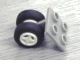 Part No: 4870c02  Name: Plate, Modified 2 x 2 Thin with Dual Wheels Holder - Split Pins with White Wheels and Black Tires (4870 / 4624 / 3139)
