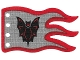 Part No: x376px2  Name: Cloth Flag 8 x 5 Wave with Red Border and Fright Knights Bat Emblem Pattern