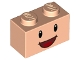Part No: 11211pb03  Name: Brick, Modified 1 x 2 with Studs on 1 Side with Black Eyes, White Pupils and Open Mouth Smile Pattern