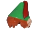 Part No: 26025pb01  Name: Minifigure, Hair Combo, Hair with Hat, Dark Orange Messy with Green Pointed Hat with Red Feather and Pointed Ears Pattern