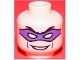 Part No: 3626bpb0061  Name: Minifigure, Head Male Purple Eye Mask with Eye Holes, Black Eyebrows and Smile Pattern (The Riddler) - Blocked Open Stud
