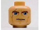 Part No: 3626bpb0075  Name: Minifigure, Head Male Brown Thick Eyebrows, Blue Eyes, Scar and Lines Pattern (SW Clone Wars Anakin) - Blocked Open Stud