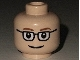 Part No: 3626bpb0122  Name: Minifigure, Head Glasses Rectangular, Brown Thin Eyebrows, Smile Pattern - Blocked Open Stud