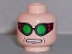 Part No: 3626bpb0198  Name: Minifigure, Head Glasses with Green Goggles, Open Mouth Pattern (Dr. Octavious) - Blocked Open Stud