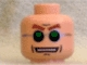 Part No: 3626bpb0201  Name: Minifigure, Head Glasses, Green and Silver, Brown Arched Eyebrows, Open Mouth Pattern (Dr. Octopus) - Blocked Open Stud