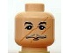 Part No: 3626bpb0209  Name: Minifigure, Head Moustache Thin Gray, Black Eyebrows, Scratches/Scars across Face Pattern (HP Professor Lupin) - Blocked Open Stud