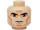 Part No: 3626bpb0314  Name: Minifigure, Head Male Black Thick Eyebrows, Large Eyes, Cheek Lines Pattern (SW Clone Wars Trooper) - Blocked Open Stud