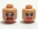 Part No: 3626bpb0351  Name: Minifigure, Head Dual Sided Female Blue Eyes, Scared / Smile with Teeth Pattern - Blocked Open Stud