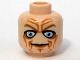 Part No: 3626bpb0391  Name: Minifigure, Head Male Blue Eyes, Deep Brown Wrinkles Pattern - Blocked Open Stud