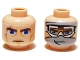 Part No: 3626bpb0406  Name: Minifigure, Head Dual Sided Thick Eyebrows, Blue Eyes, Scar and Lines / Snow Goggles and Gray Bandana Pattern (SW Anakin) - Blocked Open Stud