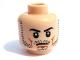 Part No: 3626bpb0415  Name: Minifigure, Head Beard Stubble, Black Eyebrows, White Pupils, Frown Pattern - Blocked Open Stud