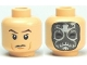 Part No: 3626bpb0488  Name: Minifigure, Head Dual Sided HP Death Eater Mask with White Swirls / Raised Eyebrows Pattern - Blocked Open Stud