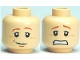 Part No: 3626bpb0492  Name: Minifigure, Head Dual Sided Dark Orange Eyebrows, Freckles, Smile / Scared Pattern (HP Ron) - Blocked Open Stud
