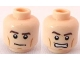Part No: 3626bpb0567  Name: Minifigure, Head Dual Sided PotC Philip Thick Brown Eyebrows and Cheek Lines, Determined / Angry Pattern - Blocked Open Stud