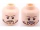 Part No: 3626bpb0576  Name: Minifigure, Head Dual Sided PotC Norrington Ragged Brown Beard, Smile / Frown Pattern - Blocked Open Stud